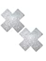 Neva Nude Silver Pixie Dust Glitter X Factor Nipztix Pasties Nipple Covers for Festivals, Raves, Parties, Lingerie and More, Medical Grade Adhesive, Waterproof and Sweatproof, Made in USA