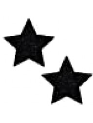 Neva Nude Black Malice Glitter Star Nipztix Pasties Nipple Covers for Festivals, Raves, Parties, Lingerie and More, Medical Grade Adhesive, Waterproof and Sweatproof, Made in USA
