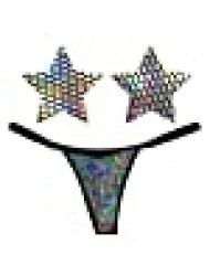 Neva Nude Mirrored Mayhem Super Holographic Naughty Knix G String Pasties and Panties Set
